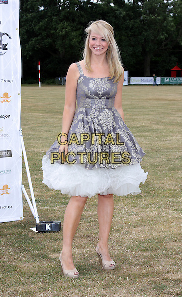 LIZ McCLARNON.Duke of Essex Polo Cup at Gaynes Park, Epping, Essex, England, UK..July 17th 2010.full length prom tulle dress grey gray blue print white cream patterned.CAP/JIL.©Jill Mayhew/Capital Pictures