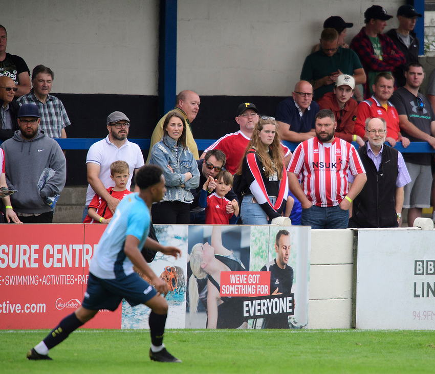 Fans from all three team (Lincoln City, Lincoln United and Gainsborough Trinity) watch the game<br /> <br /> Photographer Chris Vaughan/CameraSport<br /> <br /> Football Pre-Season Friendly (Community Festival of Lincolnshire) - Gainsborough Trinity v Lincoln City - Saturday 6th July 2019 - The Martin & Co Arena - Gainsborough<br /> <br /> World Copyright © 2018 CameraSport. All rights reserved. 43 Linden Ave. Countesthorpe. Leicester. England. LE8 5PG - Tel: +44 (0) 116 277 4147 - admin@camerasport.com - www.camerasport.com
