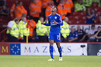 Demarai Gray of Leicester City celebrates his goal during the Carabao Cup match between Sheffield United and Leicester City at Bramall Lane, Sheffield, England on 22 August 2017. Photo by James Williamson / PRiME Media Images.