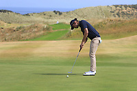 Lawrence Curtis (Peninsula Kingswood) on the 16th green during Round 2 - Strokeplay of the North of Ireland Championship at Royal Portrush Golf Club, Portrush, Co. Antrim on Tuesday 10th July 2018.<br /> Picture:  Thos Caffrey / Golffile