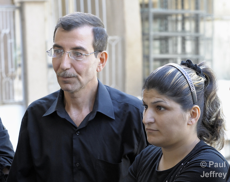 An Iraqi refugee couple supported by the Chaldean Catholic Church in Aleppo, Syria. The Chaldean  Bishop of Aleppo, Antoine Audo, has spoken out vociferously on behalf of Iraqi refugees, and his church provides educational and other services to some of the 60,000 Iraqis living in the Aleppo area.