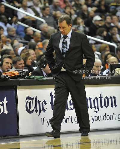 Washington, DC - January 2, 2010 -- Washington Wizards head coach Flip Saunders paces the sidelines during the fourth quarter against the San Antonio Spurs at the Verizon Center in Washington, D.C. on Saturday, January 2, 2010.  The Spurs won the game 97 - 86..Credit: Ron Sachs / CNP..(RESTRICTION: NO New York or New Jersey Newspapers or newspapers within a 75 mile radius of New York City)