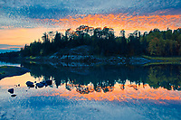 Sunset reflection  on Middle Lake<br />