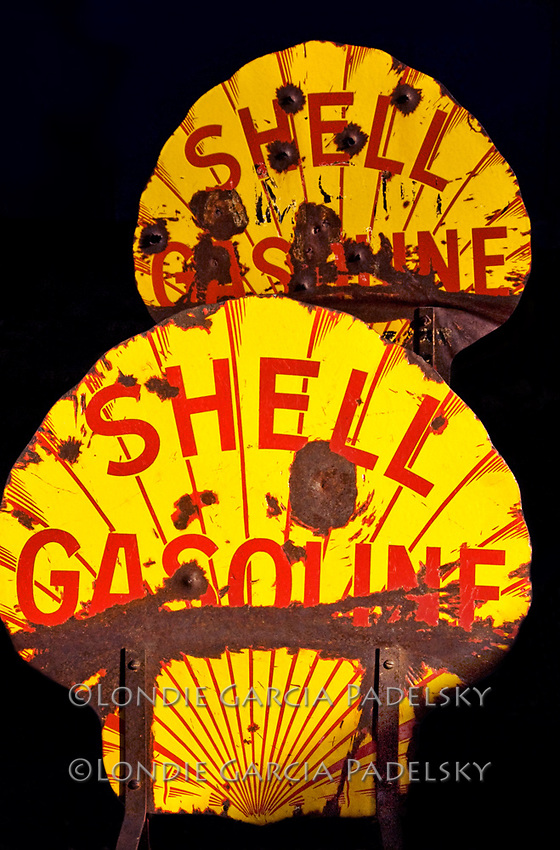 'Shell Gasoline' road signs at Bodie Historic Ghost Town, Bodie Hills, Mono County, California..How much was the gas then?