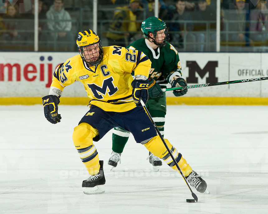 The University of Michigan ice hockey team defeated Northern Michigan University, 3-2 (OT), at Yost Ice Arena in Ann Arbor, Mich., on February 18, 2012.