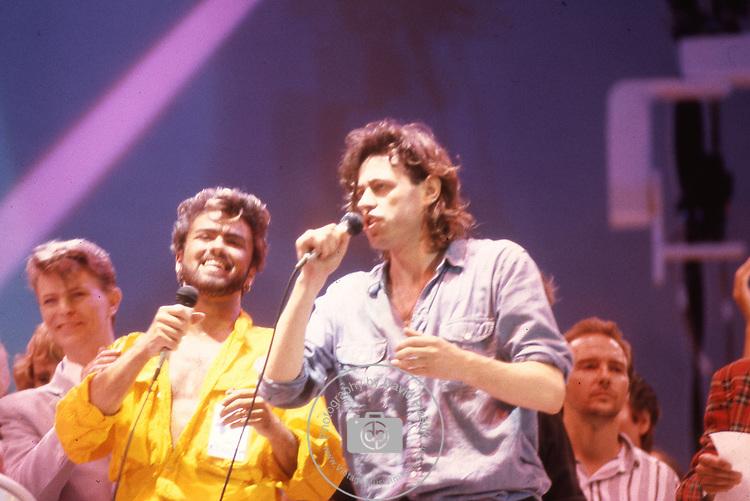 Live Aid 1985 Wembley Stadium, London , England. David Bowie, George Michael, Bob Geldolf