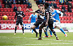 St Johnstone v Motherwell…07.04.18…  McDiarmid Park    SPFL<br />David Wotherspoon's shot is saved<br />Picture by Graeme Hart. <br />Copyright Perthshire Picture Agency<br />Tel: 01738 623350  Mobile: 07990 594431