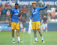 Preston North End's Callum Robinson (right) and Lukas Nmecha during the pre-match warm-up <br /> <br /> Photographer Kevin Barnes/CameraSport<br /> <br /> The EFL Sky Bet Championship - Swansea City v Preston North End - Saturday August 11th 2018 - Liberty Stadium - Swansea<br /> <br /> World Copyright &copy; 2018 CameraSport. All rights reserved. 43 Linden Ave. Countesthorpe. Leicester. England. LE8 5PG - Tel: +44 (0) 116 277 4147 - admin@camerasport.com - www.camerasport.com