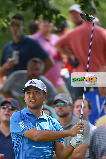 Xander Schauffele (USA) watches his tee shot on 18 during 2nd round of the World Golf Championships - Bridgestone Invitational, at the Firestone Country Club, Akron, Ohio. 8/3/2018.<br /> Picture: Golffile   Ken Murray<br /> <br /> <br /> All photo usage must carry mandatory copyright credit (© Golffile   Ken Murray)