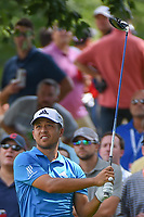 Xander Schauffele (USA) watches his tee shot on 18 during 2nd round of the World Golf Championships - Bridgestone Invitational, at the Firestone Country Club, Akron, Ohio. 8/3/2018.<br /> Picture: Golffile | Ken Murray<br /> <br /> <br /> All photo usage must carry mandatory copyright credit (&copy; Golffile | Ken Murray)