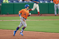 St. Lucie Mets right fielder Quinn Brodey (12) rounds the bases after hitting a home run in the top of the sixth inning during a game against the Clearwater Threshers on August 11, 2018 at Spectrum Field in Clearwater, Florida.  St. Lucie defeated Clearwater 11-0.  (Mike Janes/Four Seam Images)