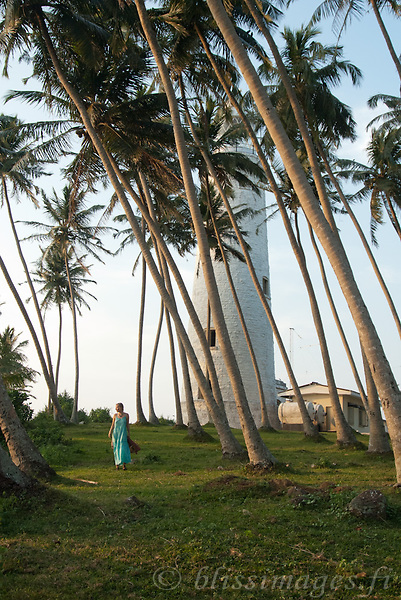 Portrait of handsome figures amongst the island's palm trees -Barberyn (Beruwala) Lighthouse, Sri Lanka