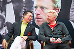 Mission Hils Vice Chairman Tenniel Chu (left) and tennis legend Boris Becker share a laugh during the press conference for the opening of Boris Becker Tennis Academy at Mission Hills Resort on 19 March 2016, in Shenzhen, China. Photo by Lucas Schifres / Power Sport Images