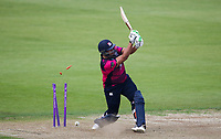 Northants Steelbacks' Rory Kleinveldt is bowled by Durham's Nathan Rimmington (not shown) <br /> <br /> Photographer Andrew Kearns/CameraSport<br /> <br /> Royal London One Day Cup - Northamptonshire v Durham - Sunday 27th May 2018 - The County Ground, Northampton<br /> <br /> World Copyright &copy; 2018 CameraSport. All rights reserved. 43 Linden Ave. Countesthorpe. Leicester. England. LE8 5PG - Tel: +44 (0) 116 277 4147 - admin@camerasport.com - www.camerasport.com