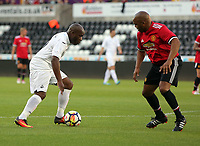 Adrian Forbes of Swansea (L) during the Alan Tate Testimonial Match, Swansea City Legends v Manchester United Legends at the Liberty Stadium, Swansea, Wales, UK