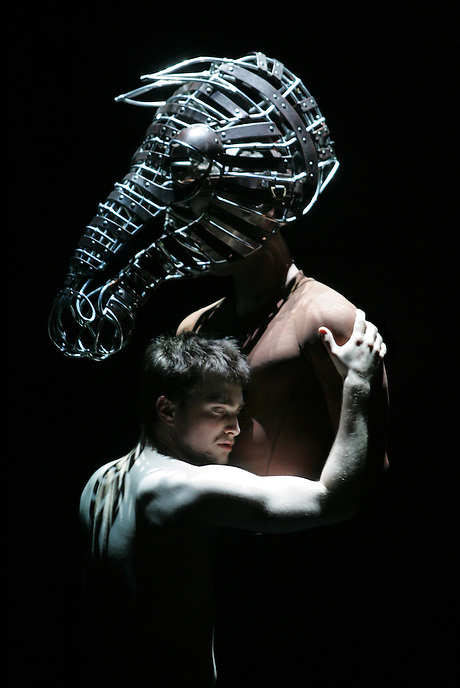 """Daniel Radcliffe stars in """"Equus"""", Peter Shaffer's classic play about the effort to heal a boy who has blinded six horses.  Lorenzo Pisoni is """"Nugget"""".  Broadhurst Theatre, 235 W. 44 St., NYC.  Newsday/Ari Mintz  9/3/2008."""