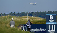A Fighter Plane from RAF Leuchars flies past during Round 2 of the 2015 Alfred Dunhill Links Championship at the Old Course, St Andrews, in Fife, Scotland on 2/10/15.<br /> Picture: Richard Martin-Roberts | Golffile