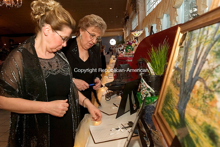 SOUTHINGTON, CT- 09 APRIL 2005-040905J02--Debbie Veneziano of Watertown, left, and JoAnn Genovese of Wolcott, look over silent auction items during the American Cancer Society's 4th annual Hope Gala held Saturday at the Aqua Turf in Southington.  --- Jim Shannon Photo--Debbie Veneziano; Watertown; JoAnn Genovese; Wolcott; American Cancer Society; Southington, Aqua Turf are CQ