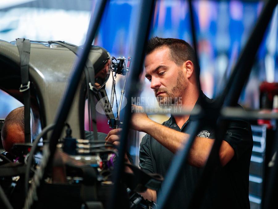 Jul 28, 2019; Sonoma, CA, USA; Crew member for NHRA top fuel driver Mike Salinas during the Sonoma Nationals at Sonoma Raceway. Mandatory Credit: Mark J. Rebilas-USA TODAY Sports