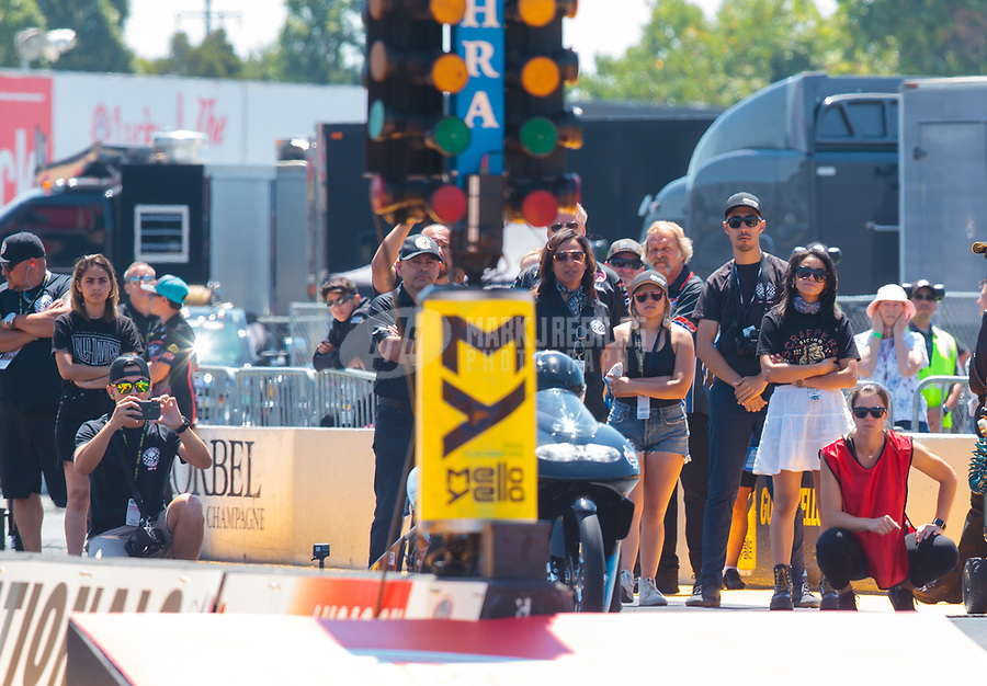 Jul 28, 2019; Sonoma, CA, USA; Crew members and family for NHRA pro stock motorcycle rider Jianna Salinas during the Sonoma Nationals at Sonoma Raceway. Mandatory Credit: Mark J. Rebilas-USA TODAY Sports