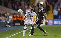 Kieran Trippier of Tottenham Hotspur hits it past Reynaldo of Qarabag FK during the UEFA Europa League match between Tottenham Hotspur and Qarabag FK at White Hart Lane, London, England on 17 September 2015. Photo by Andy Rowland.