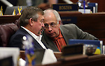 Nevada Assembly Republicans Cresent Hardy, left, and Pat Hickey work on the Assembly floor at the Legislative Building in Carson City, Nev., on Sunday, June 2, 2013. <br /> Photo by Cathleen Allison