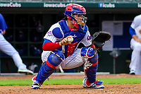 Iowa Cubs catcher Victor Caratini (17) gets ready to throw down to second base between innings during a Pacific Coast League game against the Colorado Springs Sky Sox on June 22, 2018 at Principal Park in Des Moines, Iowa. Iowa defeated Colorado Springs 4-3. (Brad Krause/Four Seam Images)