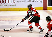 February 22nd 2008:  Greg Mauldin (14) of the Binghamton Senators skates up ice with the puck during a game vs. the Rochester Amerks at Blue Cross Arena at the War Memorial in Rochester, NY.  The Senators defeated the Amerks 4-0.   Photo copyright Mike Janes Photography