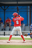 Philadelphia Phillies Jonathan Guzman (8) at bat during an Instructional League game against the Toronto Blue Jays on October 7, 2017 at the Englebert Complex in Dunedin, Florida.  (Mike Janes/Four Seam Images)