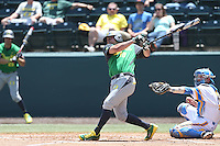 Josh Graham #18 of the Oregon Ducks bats against the UCLA Bruins at Jackie Robinson Stadium on May 18, 2014 in Los Angeles, California. Oregon defeated UCLA, 5-4. (Larry Goren/Four Seam Images)