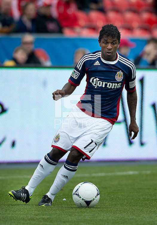 14 April 2012: Chivas USA midfielder Miller Bolanos #17 in action during a game between Chivas USA and Toronto FC at BMO Field in Toronto..Chivas USA won 1-0.