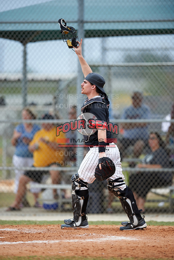 Edgewood College Eagles Nick Cheaney (27) during the first game of a doubleheader against Western Connecticut Colonials on March 13, 2017 at the Lee County Player Development Complex in Fort Myers, Florida.  Edgewood defeated Western Connecticut 3-0.  (Mike Janes/Four Seam Images)