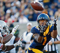 California Golden Bears wide receiver Bryce Treggs (1) makes a touchdown grab in the end zone against Ohio State Buckeyes cornerback Bradley Roby (1) in the 3rd quarter at Memorial Stadium in Berkeley, California on September 14, 2013.  (Dispatch photo by Kyle Robertson)