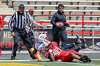College Park, MD - April 27, 2019:  Maryland Terrapins tight end Michael Cornwell (87) scores a touchdown during the spring game at  Capital One Field at Maryland Stadium in College Park, MD.  (Photo by Elliott Brown/Media Images International)