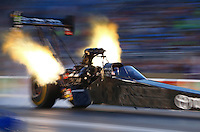 Jul 10, 2015; Joliet, IL, USA; NHRA top fuel driver Shawn Langdon during qualifying for the Route 66 Nationals at Route 66 Raceway. Mandatory Credit: Mark J. Rebilas-USA TODAY Sports