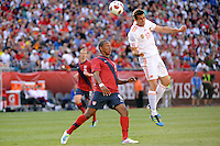 Alvaro Arbeloa (17) of Spain heads the ball. The men's national team of Spain (ESP) defeated the United States (USA) 4-0 during a International friendly at Gillette Stadium in Foxborough, MA, on June 04, 2011.