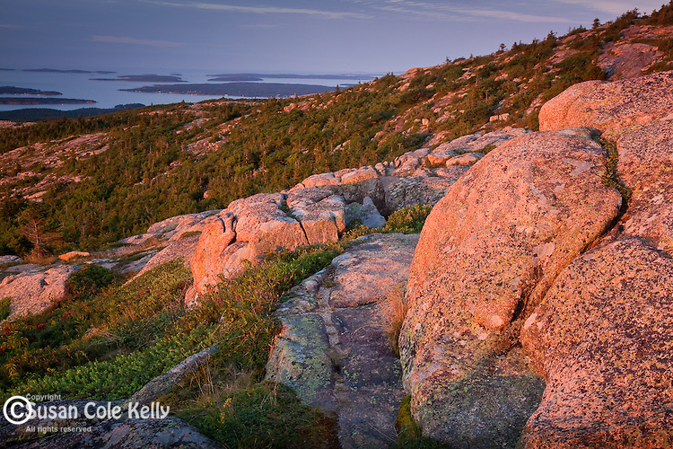 Cadillac Mountain sunrise view of Frenchman Bay, Acadia National Park, ME, USa