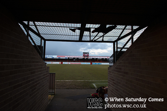 Dagenham and Redbridge 1 Burton Albion 3, 21/02/2015. Victoria Road, League Two. The home team dugout area and old tunnel. Burton Albion moved to the top of League Two following a hard-fought win over Dagenham & Redbridge played in-front of 1,718 supporters. Photo by Simon Gill.