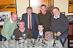 CHESS; Proofing that he has the skills to beat the best in Kerry in the Final of the Kerry Chess in The Castle Bar, on Wednesday was Ronan Magee who beat Padraig O'Sullivan who was runner up, l-r: Paul Shanahan (3rd place), Padraig O'Sullivan (2nd place), Joseph Doyle, Ronan Magee (ist), Tralee, Val De Laney (Kilorglin) and Michael O'Meara (Killarney)...