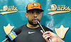 Former New York Mets pitcher Francisco Rodriguez, who recently signed with the Long Island Ducks, speaks with the media before the Ducks' season home opener at Bethpage Ballpark in Central Islip, NY on Friday, May 4, 2018.
