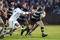 Henry Thomas of Bath Rugby takes on the Exeter Chiefs defence. Aviva Premiership match, between Bath Rugby and Exeter Chiefs on March 23, 2018 at the Recreation Ground in Bath, England. Photo by: Patrick Khachfe / Onside Images