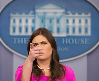 White House Press Secretary Sarah Huckabee Sanders holds her daily news briefing at the White House in Washington, DC, October 30, 2017. <br /> Credit: Chris Kleponis / CNP /MediaPunch