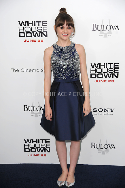 WWW.ACEPIXS.COM<br /> June 25, 2013...New York City <br /> <br /> Joey King attending 'White House Down' New York Premiere at Ziegfeld Theater on June 25, 2013 in New York City.<br /> <br /> Please byline: Kristin Callahan... ACE<br /> Ace Pictures, Inc: ..tel: (212) 243 8787 or (646) 769 0430..e-mail: info@acepixs.com..web: http://www.acepixs.com