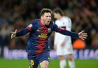 FUSSBALL  CHAMPIONS LEAGUE  ACHTELFINALE  RUECKSPIEL  2012/2013      FC Barcelona  - AC Mailand      13.03.2013 JUBEL; Torschuetze zum 2-0 Lionel Messi (Barca)