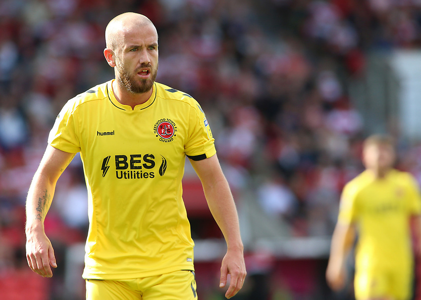 Fleetwood Town's Paddy Madden in action<br /> <br /> Photographer David Shipman/CameraSport<br /> <br /> The EFL Sky Bet League One - Doncaster Rovers v Fleetwood Town - Saturday 17th August 2019  - Keepmoat Stadium - Doncaster<br /> <br /> World Copyright © 2019 CameraSport. All rights reserved. 43 Linden Ave. Countesthorpe. Leicester. England. LE8 5PG - Tel: +44 (0) 116 277 4147 - admin@camerasport.com - www.camerasport.com