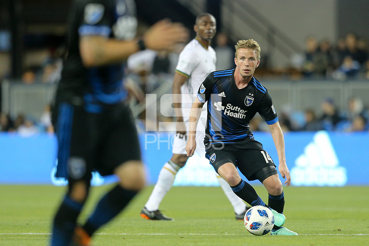 San Jose, CA - Saturday May 05, 2018: Jackson Yueill during a Major League Soccer (MLS) match between the San Jose Earthquakes and the Portland Timbers at Avaya Stadium.