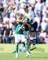 Preston North End's Patrick Bauer beats Sheffield Wednesday's Steven Fletcher and Fernando Forestieri to an aerial ball<br /> <br /> Photographer Rich Linley/CameraSport<br /> <br /> The EFL Championship - Preston North End v Sheffield Wednesday - Saturday August 24th 2019 - Deepdale Stadium - Preston<br /> <br /> World Copyright © 2019 CameraSport. All rights reserved. 43 Linden Ave. Countesthorpe. Leicester. England. LE8 5PG - Tel: +44 (0) 116 277 4147 - admin@camerasport.com - www.camerasport.com