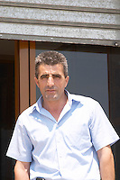 Ramadan Likaj, owner and president in front of the winery. Kantina Miqesia or Medaur winery, Koplik. Albania, Balkan, Europe.