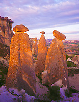 The Fairy Chimneys, Goreme National Park, Turkey, Cappadocia Region, Volcanic deposits near Urgup, May