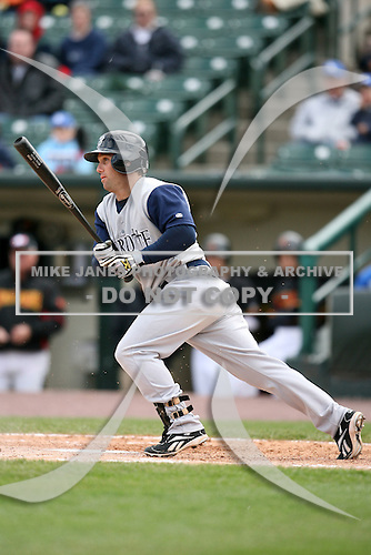 May 10, 2009:  Second Baseman Keith Ginter of the Charlotte Knights, Triple-A International League affiliate of the Chicago White Sox, at bat during a game at Frontier Field in Rochester, NY.  Photo by:  Mike Janes/Four Seam Images